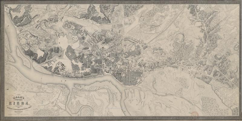 карта киева, План города Киева, гравированный при военно-топографическом депо» редакции 1846 года, в превосходном скане, Авторская студия профессионального фотографа Сергея Рыжкова